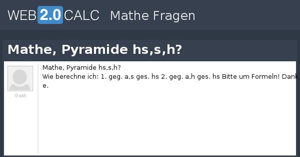 Frage Anzeigen Mathe Pyramide Hssh