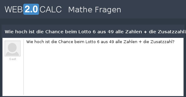 Chance Beim Lotto