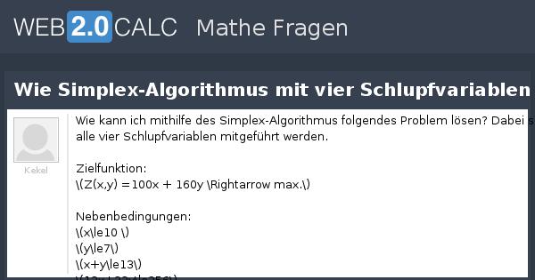 Frage anzeigen - Wie Simplex-Algorithmus mit vier ...